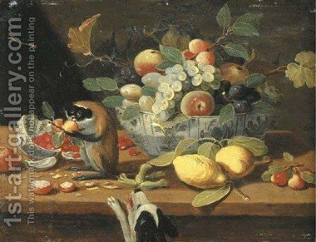 Grapes, plums and other fruit in a bowl, lemons and other fruit on a ledge with a monkey, a dog below by (after) Jan Van, The Younger Kessel - Reproduction Oil Painting