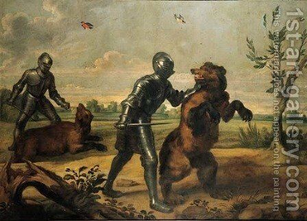 A bear hunt by (after) Jan Wildens - Reproduction Oil Painting