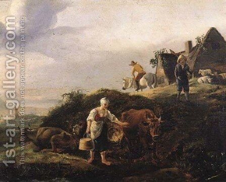 A milkmaid on a river bank, with travellers on a road by a farm in the dunes by (after) Jan Wouwerman - Reproduction Oil Painting
