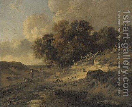 A woodside track with travellers and dogs by (after) Jan Wynants - Reproduction Oil Painting