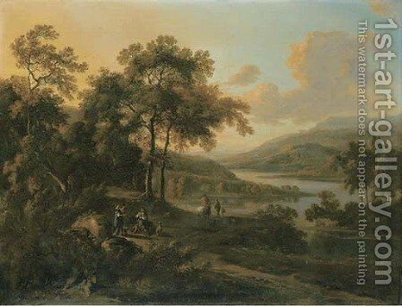 An Italianate river landscape with an elegant couple listening to a piper, travellers beyond by (after) Jan Wynants - Reproduction Oil Painting
