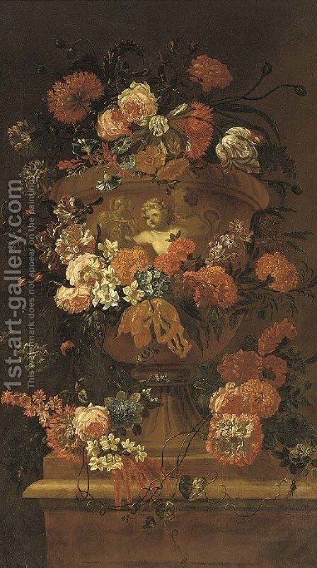 Roses, carnations, tulips, morning glory, narcissi and other flowers in a sculpted urn on a stone ledge by (after) Jean-Baptiste Morel - Reproduction Oil Painting
