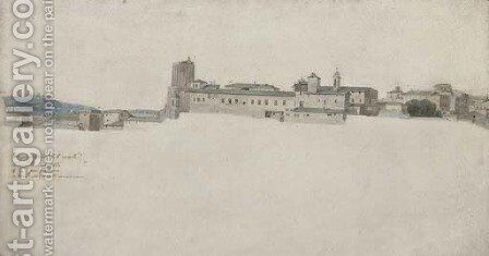 View of the Torre delle Milizie and the Convent of Santa Caterina a Magnanapoli, Rome by (after) Jean Grandjean - Reproduction Oil Painting