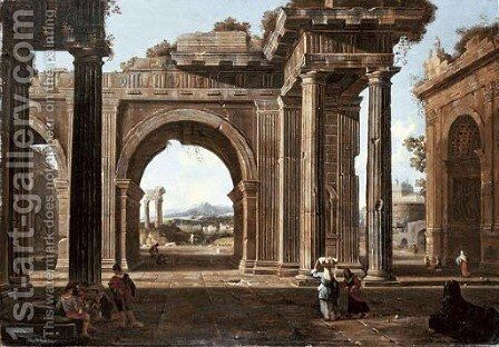 A capriccio of classical ruins with the Arch of Titus, the Temple of Vespasian by (after) Jean Lemaire - Reproduction Oil Painting