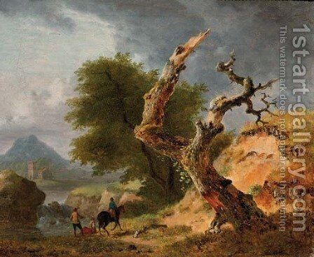 A mountainous landscape with figures by a stream near a dead tree by (after) Jean Louis Demarne, Called Demarnette - Reproduction Oil Painting
