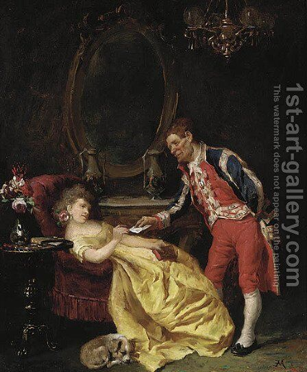 The letter by (after) Meissonier, Jean-Louis Ernest - Reproduction Oil Painting