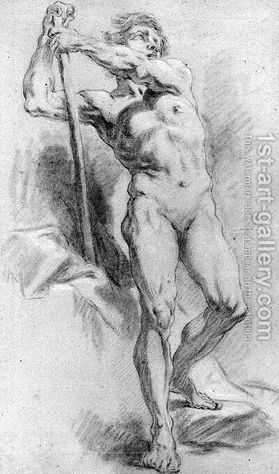 A standing nude leaning on a stick by (after) Jean-Baptiste Deshays - Reproduction Oil Painting