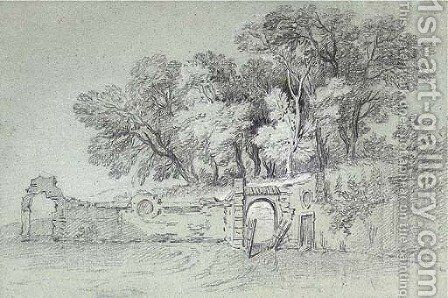 A ruined garden wall by a copse of trees, perhaps in the gardens at Arcueil by (after) Jean-Baptiste Oudry - Reproduction Oil Painting