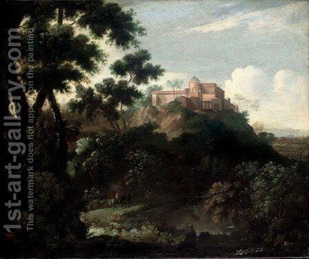 A wooded mountainous landscape with travellers on a track, a villa beyond by (after) Jean-Francois Millet - Reproduction Oil Painting