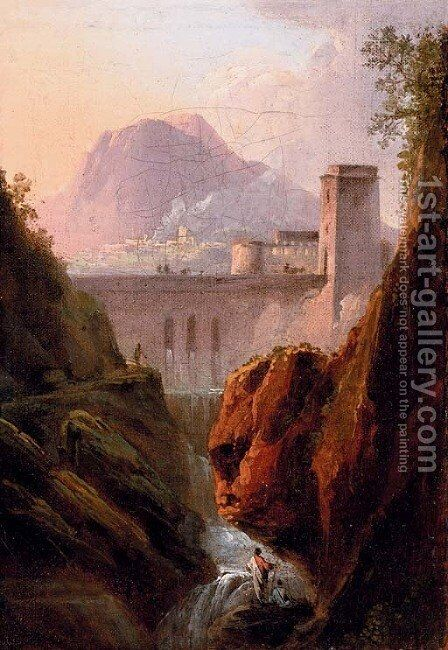A capriccio with figures by a waterfall, a dam beyond by (after) Jean-Joseph-Xavier Bidauld - Reproduction Oil Painting