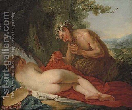 Jupiter and Antiope by (after) Jean-Simon Berthelemy - Reproduction Oil Painting