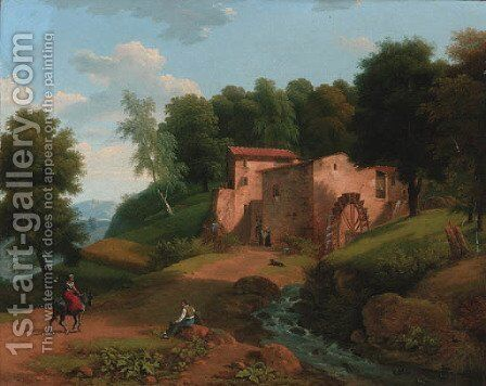 A watermill in a wooded landscape by (after) Jean-Victor Bertin - Reproduction Oil Painting
