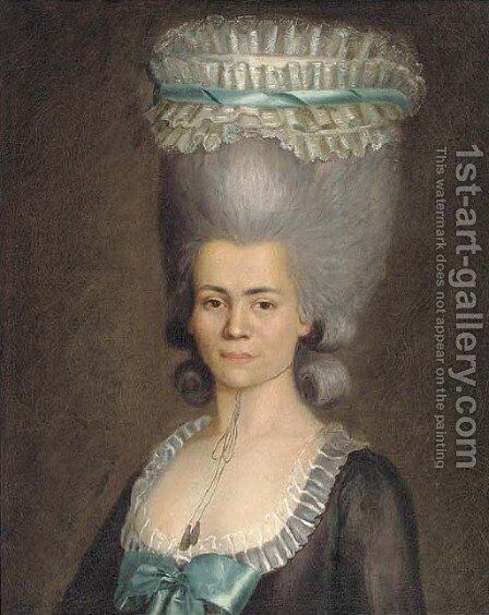 Portrait of a lady by (after) Jens Juel - Reproduction Oil Painting
