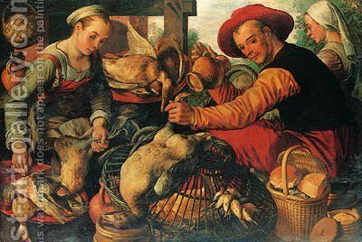 Peasants at a Poultry Stall by (after)  Joachim Beuckelaer - Reproduction Oil Painting