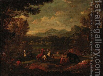 A wooded landscape with horses before a river by (after) Joachim-Franz Beich - Reproduction Oil Painting