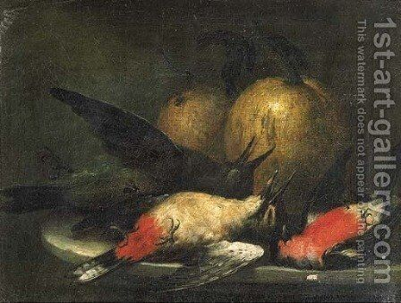 Dead songbirds and pumpkins on a stone ledge by (after) Johann Adalbert Angermayer - Reproduction Oil Painting