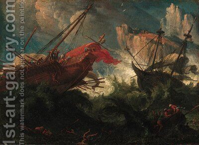 A galley and a man-'o-war in stormy seas off a rocky coastline by (after) Johann Anton Eismann - Reproduction Oil Painting