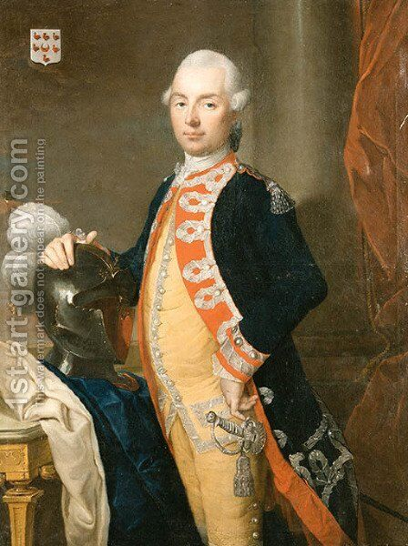 Portrait of an Officer in Uniform by (after) Johann Baptist The Younger Lampi - Reproduction Oil Painting