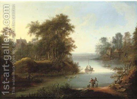 A wooded landscape with fishermen on the banks of a river, a church and watermill beyond by (after) Johann Christian Vollerdt Or Vollaert - Reproduction Oil Painting