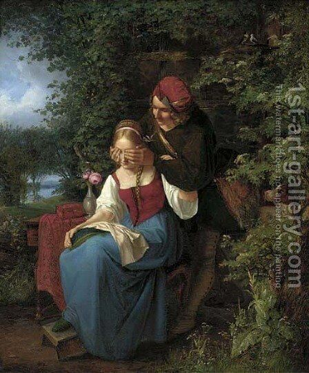 The mystery suitor by (after) Friedrich Tischbein - Reproduction Oil Painting