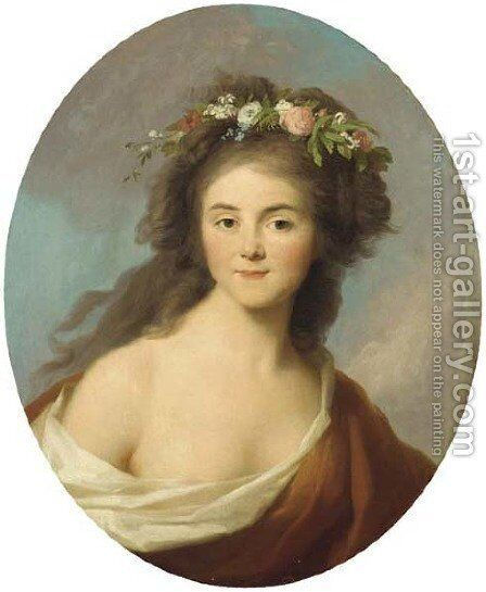 Portrait of a girl by (after) Johann Heinrich Wilhelm Tischbein - Reproduction Oil Painting