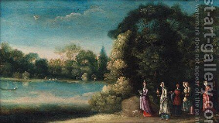 Mercury and the daughters of Herse by (after) Johann Konig - Reproduction Oil Painting