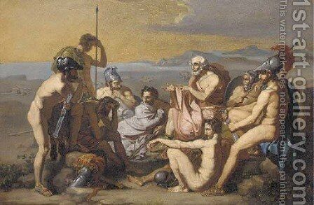 Assembling for the fight for Troy by (after) Johann Martin Wagner - Reproduction Oil Painting