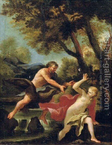 Jupiter and Antiope by (after) Johann Spillenberger - Reproduction Oil Painting