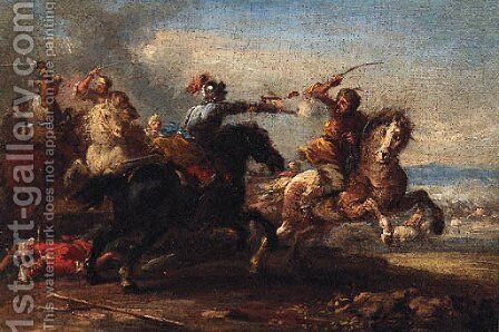 A cavalry skirmish between Christians and Turks by (after) Johann-Anton Eismann - Reproduction Oil Painting