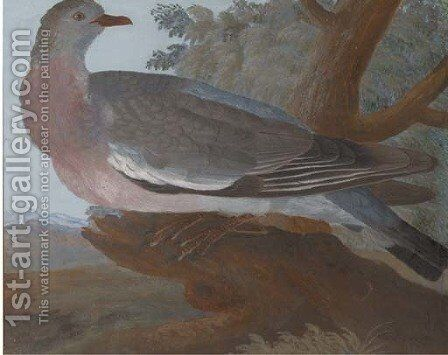 A wood pigeon on a tree stump, an extensive landscape beyond by (after) Johannes Bronkhorst - Reproduction Oil Painting