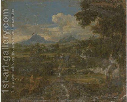 A classical landscape with a figure by a rock by (after) Johannes (Polidoro) Glauber - Reproduction Oil Painting