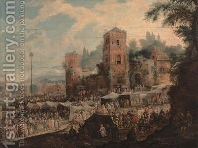 A town kermesse by (after) Johannes Jacob Hartmann - Reproduction Oil Painting