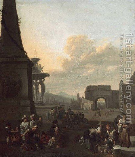 The Piazza del Popolo, Rome by (after) Johannes Lingelbach - Reproduction Oil Painting