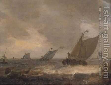 Dutch barges in a stiff breeze offshore by (after) Johannes Pieterszoon Schoeff - Reproduction Oil Painting