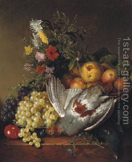 Poultry, fruit and flowers on a ledge by (after) Johannes Reekers - Reproduction Oil Painting