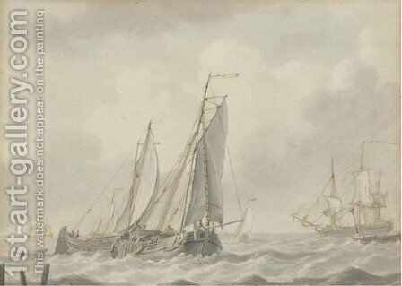 Barges in close quarters at the mouth of the estuary by (after) Johannes Christian Schotel - Reproduction Oil Painting