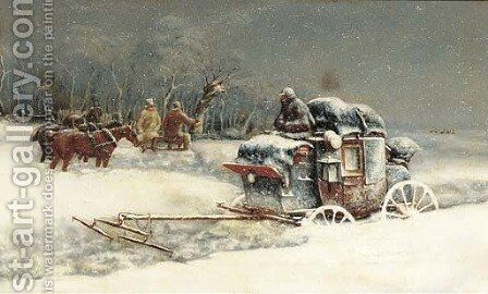 Snow bound by (after) John Charles Maggs - Reproduction Oil Painting
