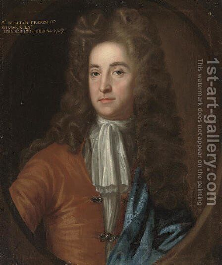 Portrait of Sir William Craven, of Winwick, Northamptonshire (1634-1707), bust-length, in a brown coat and blue mantle by (attr.to) Closterman, Johann - Reproduction Oil Painting