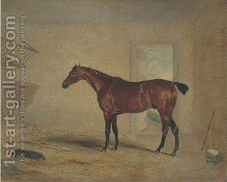 A bay hunter in a stable by (after) John Snr Ferneley - Reproduction Oil Painting