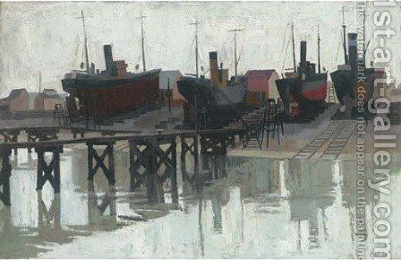 Dry dock by (after) John Platt - Reproduction Oil Painting