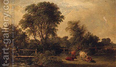 A Wooded River Landscape, With A Gentleman On A Footbridge And Cattle In The Foreground by (after) John F Tennant - Reproduction Oil Painting