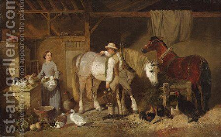 Feeding Time by (after) John Frederick Snr Herring - Reproduction Oil Painting