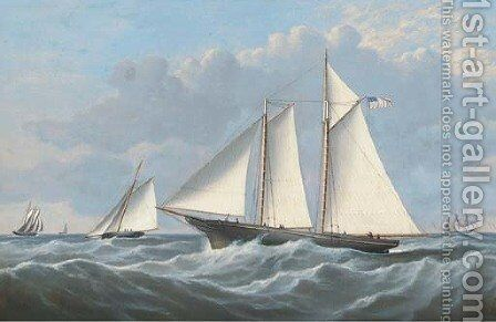 The schooner yacht America to windward of other competitors by (after) John Hughes - Reproduction Oil Painting