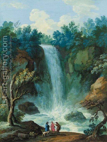 Figures and a dog standing before a waterfall by (after) John Laporte - Reproduction Oil Painting