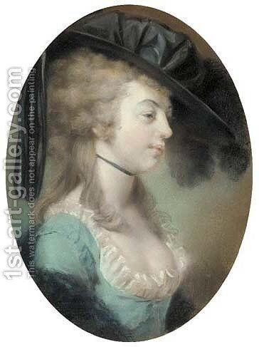 Portrait of a lady with feathered black hat thought to be the Duchess of Devonshire by (attr. to) Russell, John - Reproduction Oil Painting