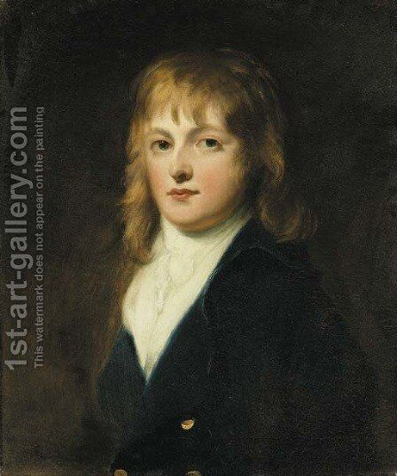 Portrait of the Hon. Peniston Lamb, half-length, in a blue coat and white cravat by (attr. to) Russell, John - Reproduction Oil Painting