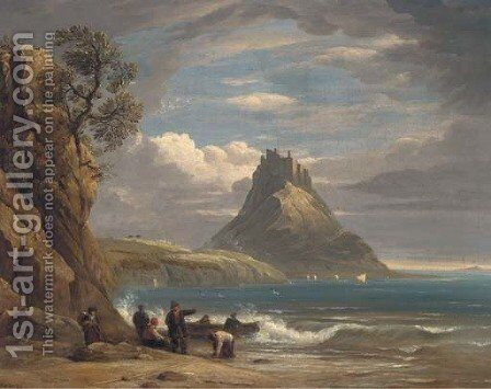 St. Michael's Mount, Cornwall by (after) John Snr Varley - Reproduction Oil Painting