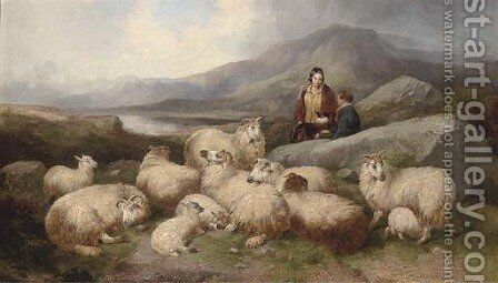 A shepherd with his flock in a Highland landscape by (after) J.W. Morris - Reproduction Oil Painting