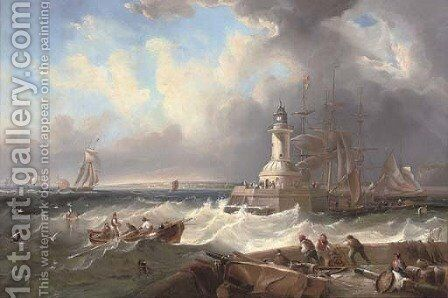 Ramsgate harbour mouth at the top of the tide by (after) John Wilson Carmichael - Reproduction Oil Painting