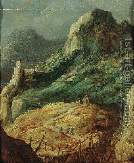 A mountainous landscape with travellers by a hut and a shepherd in a pasture by (after) Joos De Momper - Reproduction Oil Painting